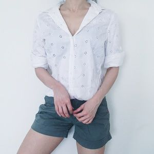 Vintage White Button Down Top with Eyelets